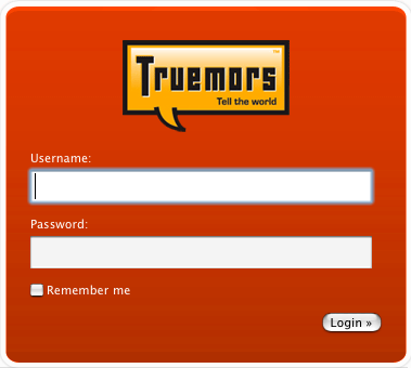 Truemors Login Screen