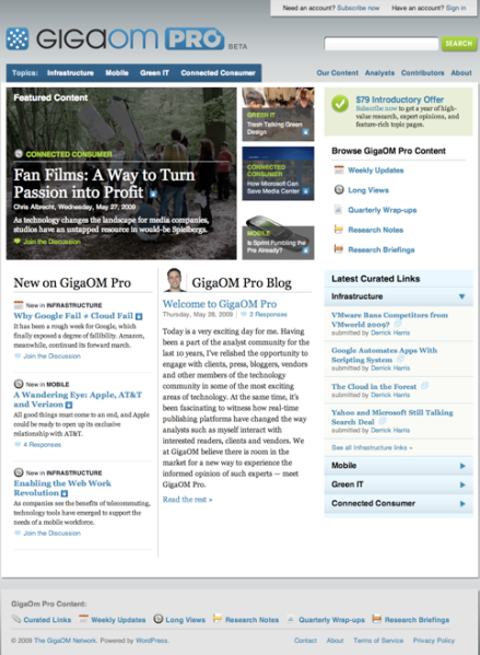 GigaOM Pro home page