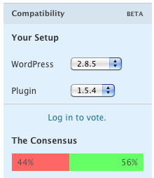 Compatibility: Your Setup: (WordPress Version drop-down) (Plugin Version drop-down). Log in to vote. The Concensus: 44% negative, 56% positive